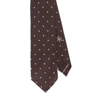 Shibumi Tie Brown Polka Dots Wool and Silk