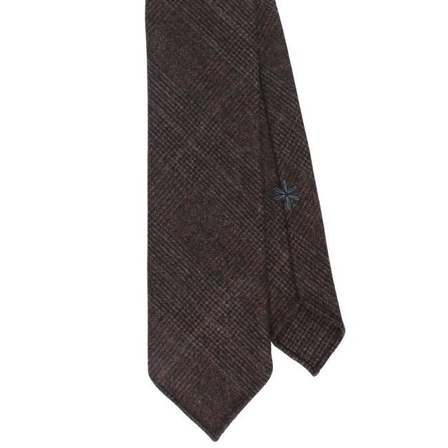 Shibumi Krawatte Braun Glencheck Wolle