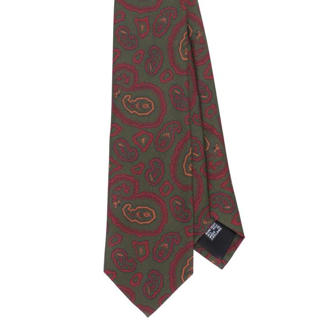 Drake's Tie Green Vintage Paisley Print Silk