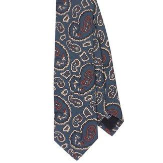 Drake's Tie Blue Vintage Paisley Print Silk