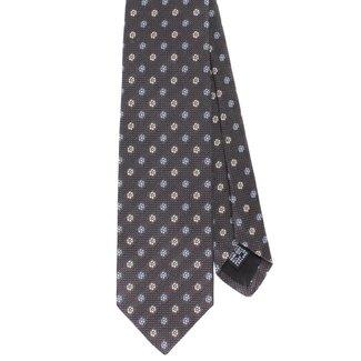 Drake's Tie Grey Flower Design Silk