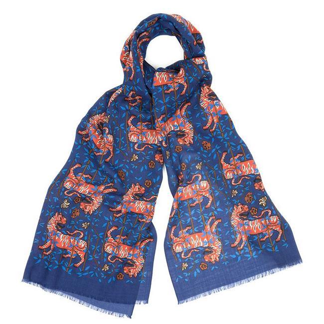 Drake's Sjaal Blauw Tijger Print Wol