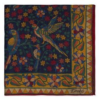 Drake's Einstecktüch Dunkelblau Vogel und Blumendruck Wolle und Seide