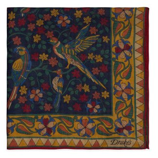 Drake's Pocket Square Navy Bird and Flower Print Wool and Silk