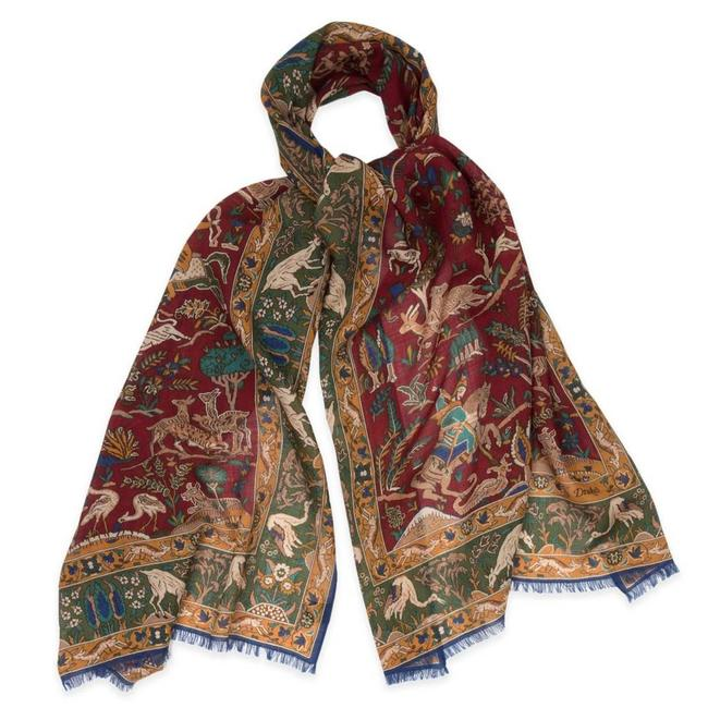c77bf9dbe41 Drake s Scarf Red Mughal Printed Wool and Silk - Quality Shop