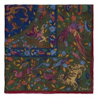Drake's Pocket Square Green Animal Print Wool and Silk
