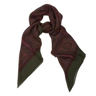 Drake's Scarf Square Green Paisley Print Wool and Silk