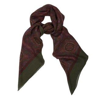 Drake's Schal Grün Paisley Druck Wolle und Seide