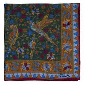 Drake's Pocket Square Green Bird and Flower Print Wool and Silk