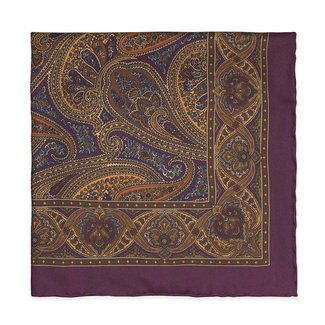 Drake's Pocket Square Purple Paisley Print Silk