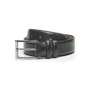 Carlos Santos Calf Leather Belt Noir Shadow Patina
