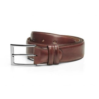 Carlos Santos Calf Leather Belt Wine Shadow Patina