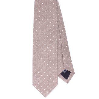Drake's Tie Beige Pin Dots Silk
