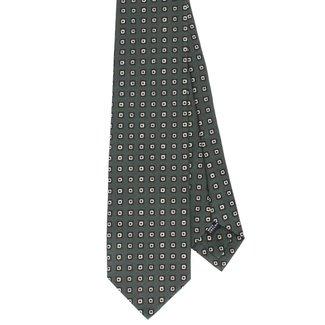 Drake's Krawatte Grün Blockmotiv Wolle und Seide