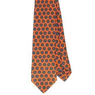 Drake's Krawatte Orange Blumenmotiv Seide