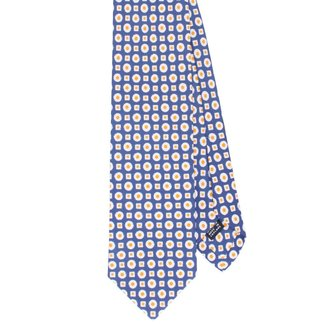 Drake's Tie Blue Small Square and Dots Design Cotton and Silk
