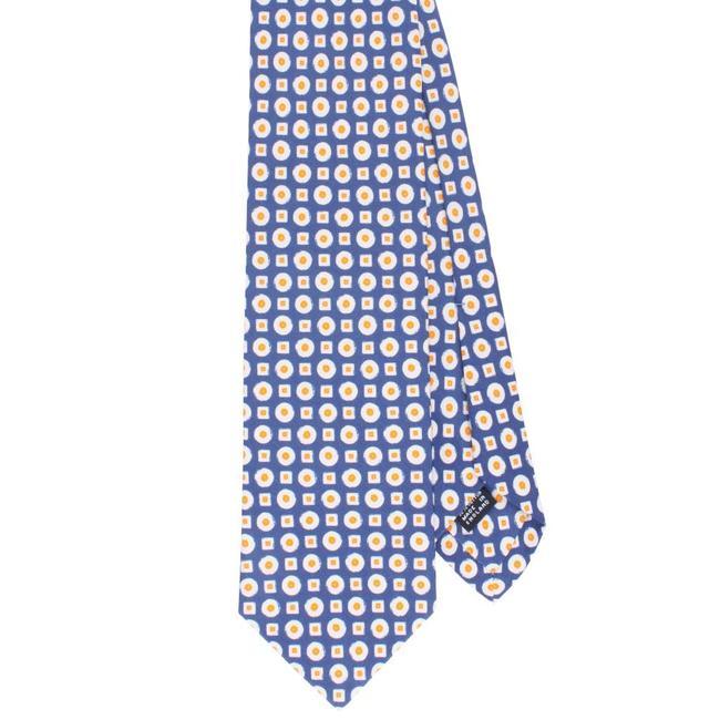 Drake's Krawatte Blau Motiv Baumwolle und Seide