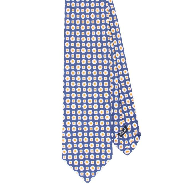 Drake's Tie Blue Small Square and Dots Design Cotton and Silk