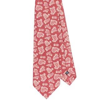 Drake's Tie Red Paisley Print Silk
