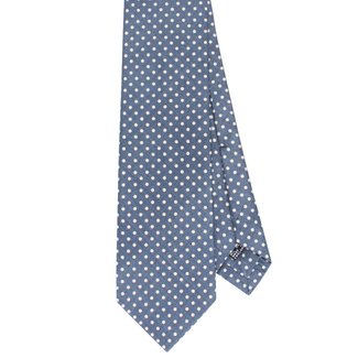 Drake's Tie Blue Dots Print Silk