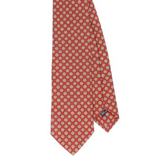 Drake's Tie Red Beige Flower Print Silk