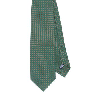 Drake's Tie Green Dots Pattern Silk
