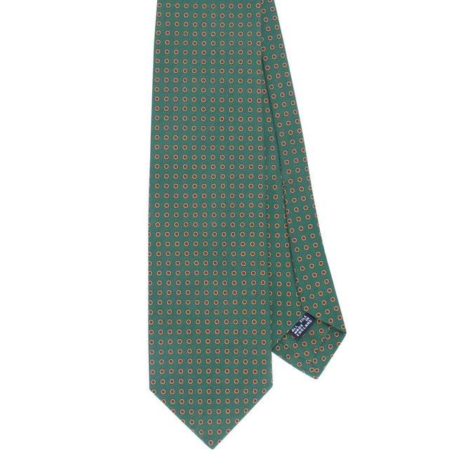 Drake's Tie Green Dots Pattern Silk