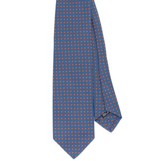 Drake's Tie Blue with Orange Dots Pattern Silk
