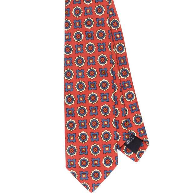 Drake's Tie Rust Orange Flower Print Silk