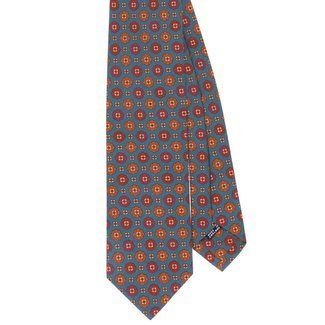 Drake's Tie Light Blue Vintage Flower Print Silk