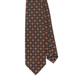 Drake's Tie Navy Vintage Flower Print Silk