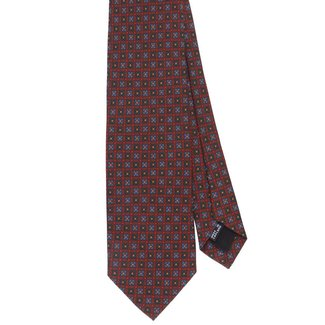 Drake's Tie Brown Flower Print Silk