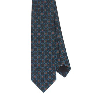 Drake's Krawatte Grün Vintage Blumenmotiv Seide