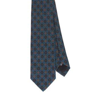 Drake's Tie Green Vintage Flower Print Silk