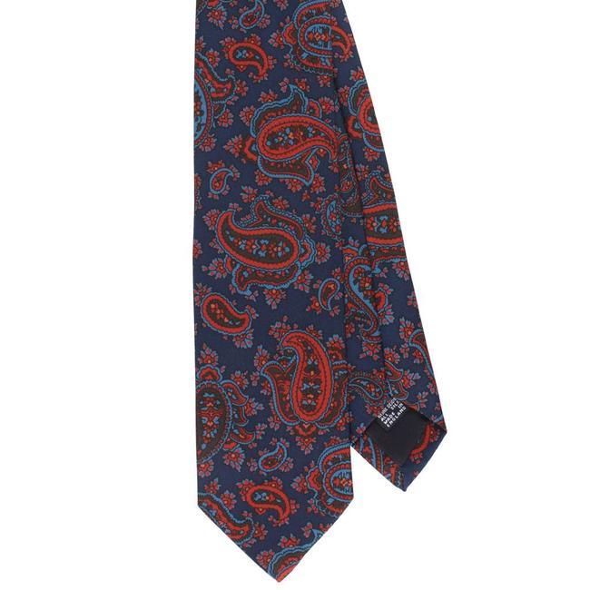 Drake's Krawatte Dunkelblau mit Rot Paisley Motiv Seide