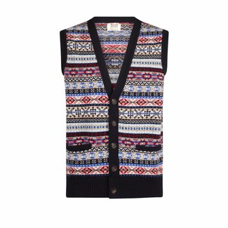 William Lockie Vest Mouwloos Blauw Lamswol Fair Isle
