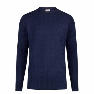 William Lockie Sweater Dark Blue Cable Merino Wool
