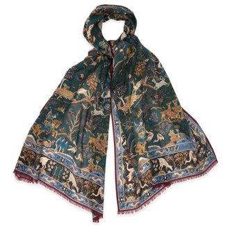 Drake's Scarf Green Mughal Printed Wool and Silk