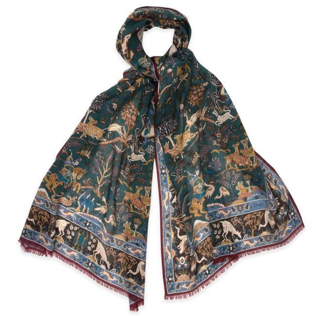 Drake's Sjaal Groen Mongoolse Print Wol en Zijde