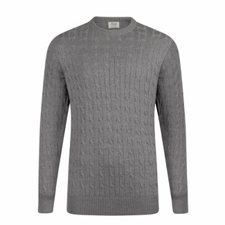William Lockie Sweater Light Grey Cable Merino Wool