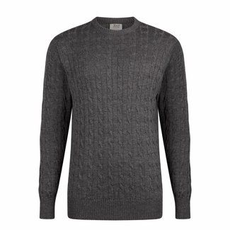 William Lockie Sweater Dark Grey Cable Merino Wool