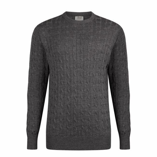 33e1721ced1da7 William Lockie Cable Knit Men's Sweater Dark Grey Merino Wool - Quality Shop