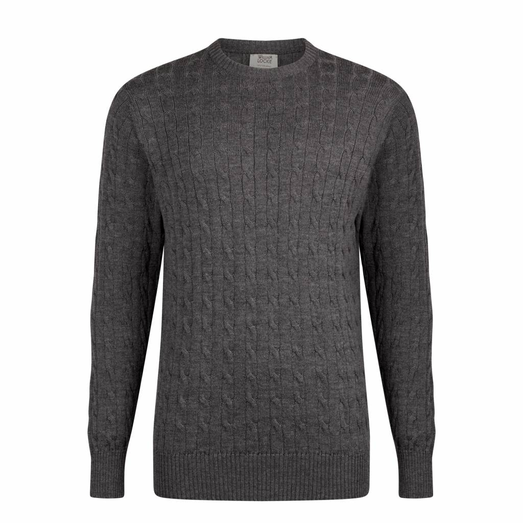 37ab3366974 William Lockie Cable Knit Men s Sweater Dark Grey Merino Wool - Quality Shop