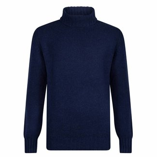 William Lockie Rollkragenpullover Dunkelblau Lammwolle