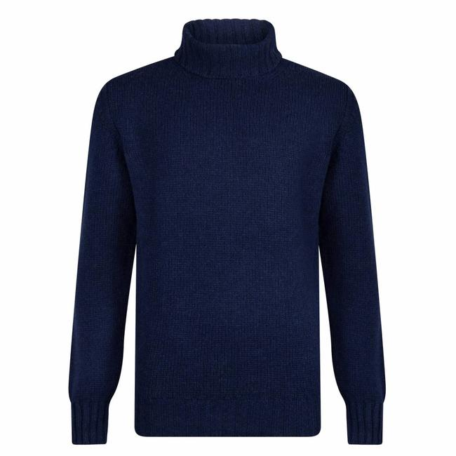 William Lockie Roll Neck Sweater Dark Blue Lambswool