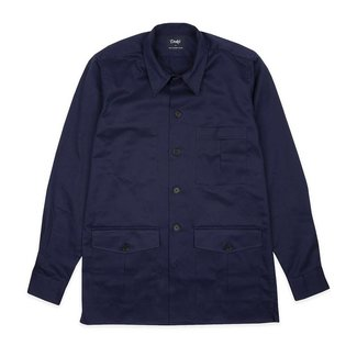 Drake's Navy Cotton Overshirt