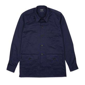 Drake's Navy Katoen Overshirt