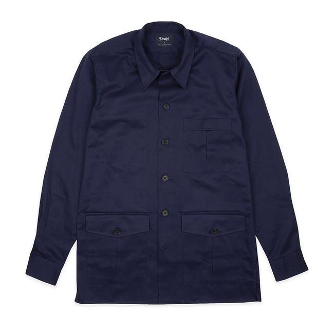 Drake's Navy Cotton Overshirt