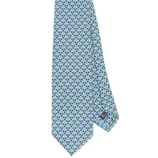Drake's Tie Light Blue Four-leaf Clover Silk