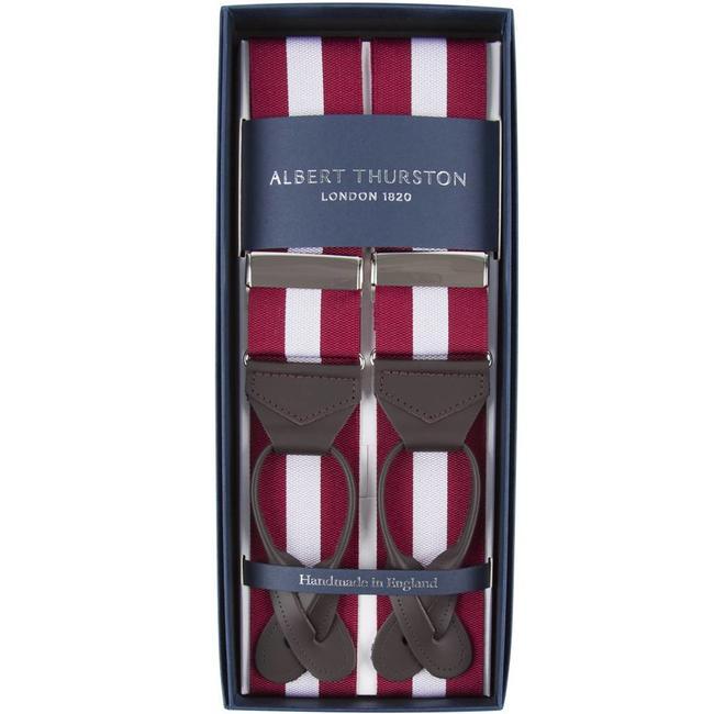 Albert Thurston Braces Burgundy White